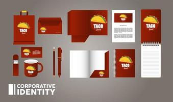 fascio di elementi di mockup di cibo messicano branding vettore