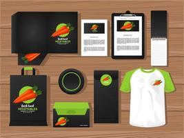 fascio di elementi di mockup di verdure carote branding vettore