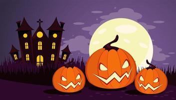 felice celebrazione di halloween card con castello infestato e zucche vettore