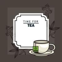 tempo per poster di lettere di tè con tazza nel piatto vettore