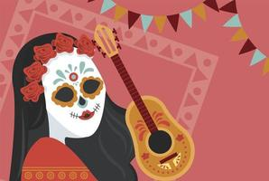 poster di dia de los muertos con teschio di katrina e chitarra vettore