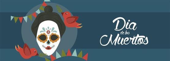 poster dia de los muertos con teschio di katrina e uccelli vettore