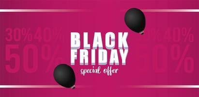 banner di vendita venerdì nero con palloncini elio in sfondo rosa vettore