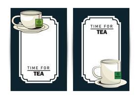 tempo per il poster di lettere di tè con tazza e tazza vettore