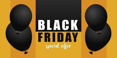banner di vendita venerdì nero con palloncini galleggianti di elio vettore