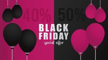 banner di scritte in vendita venerdì nero con palloncini colori elio vettore
