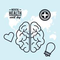 campagna della giornata mondiale della salute mentale con set di icone intorno al pianeta terra vettore