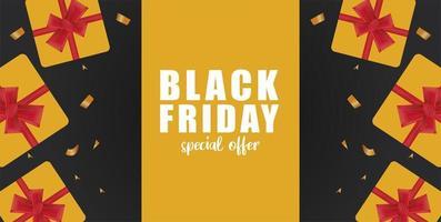 banner di vendita venerdì nero con doni d'oro