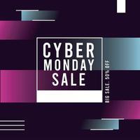 poster di vendita cyber lunedì con cornice quadrata vettore