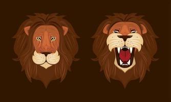 teste di leoni icone colorate vettore