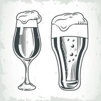 bicchieri di birra e bicchieri disegnati icone isolate vettore