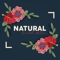 poster cornice floreale con parola naturale vettore