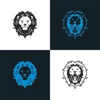 teste di leoni come icone blu e nere vettore