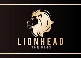 testa di leone di profilo, icona dorata vettore