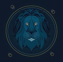 testa di leone in cornice circolare vettore