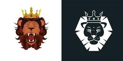 teste di leoni come icone colorate e monocromatiche vettore