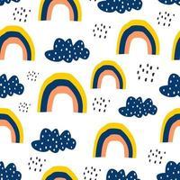 nuvole seamless pattern, illustrazione vettoriale sfondo con arcobaleno e pioggia. stile infantile disegnato a mano. disegno per bambini e tessile per neonati, stampa di abbigliamento.