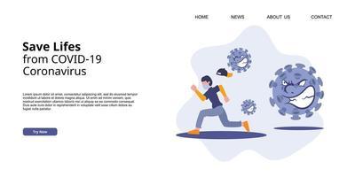 campagna della pagina di destinazione del coronavirus covid-19. un uomo in fuga da un attacco di virus. vettore