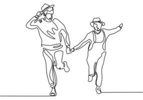 disegno in linea continua. coppia romantica mano nella mano e in esecuzione. amanti tema concept design. vettore