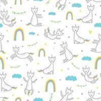 modello senza cuciture di unicorno di gatto. stile di disegno infantile alla moda. vettore
