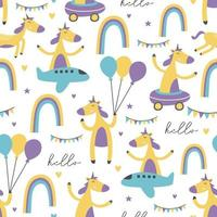 modello senza cuciture di unicorno con carattere unico, palloncino, arcobaleno e aereo. design per bambini e stampa tessile moda bambino. vettore