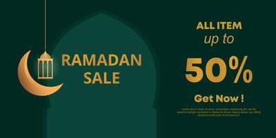 Ramadan vendita social media banner design, illustrazione vettoriale. modello di promozione per comunità islamica, colori verde e oro. vettore