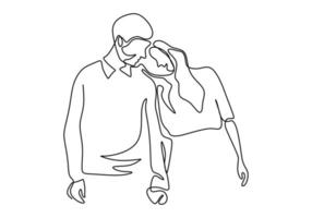 disegno in linea continua. coppia romantica. amanti tema concept design. minimalismo disegnato a mano. metafora di amore illustrazione vettoriale, isolato su sfondo bianco. vettore
