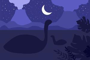 dinosauri che nuotano. scena della natura notturna vettore