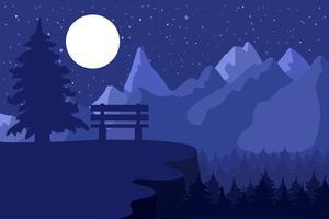 panchina del parco nella foresta di conifere di notte vettore
