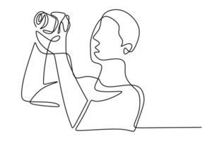 fotografo giovane turista uomo con una macchina fotografica scatta foto. prendendo visione naturale. disegno minimalista di vettore di concetto di fotografia.