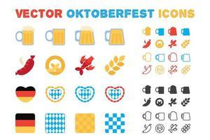 elegante vettore oktoberfest e set di icone di birra
