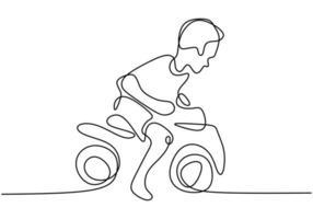 un ragazzo che gioca con la sua moto giocattolo. una riga continua. vettore