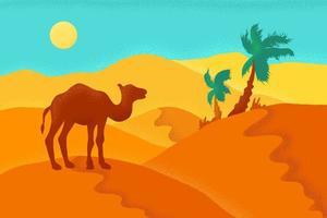 deserto di sabbia con cammello vettore