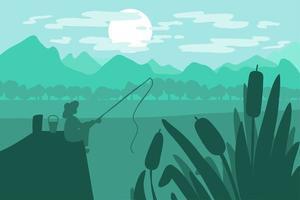 pescatore seduto con una canna da pesca sul ponte sul fiume vettore