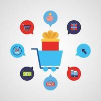 carrello della spesa con le icone della tecnologia dello shopping online