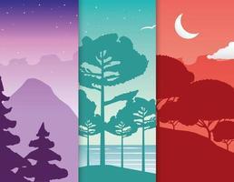 set di scene di paesaggi di voglia di viaggiare