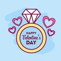design di San Valentino con anello di diamanti vettore