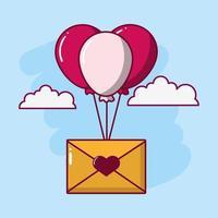 design di San Valentino con busta e palloncini vettore