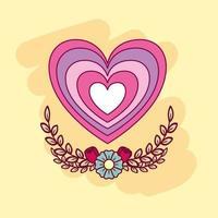 cuore carino con fiori vettore