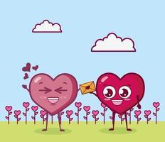 design di San Valentino con personaggi del cuore vettore