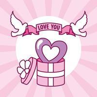 design di San Valentino con simpatica confezione regalo vettore
