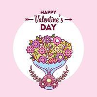 design di San Valentino con bouquet di fiori vettore