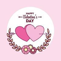 felice giorno di San Valentino carta con cuori vettore