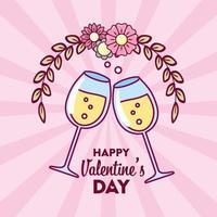 design di San Valentino con coppe di champagne vettore