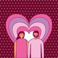 design di San Valentino con gli amanti vettore