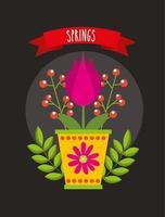 ciao poster di primavera con fiore in vaso di ceramica