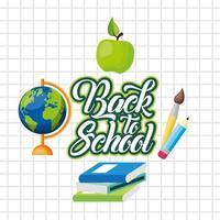 torna a scuola poster con materiale scolastico vettore