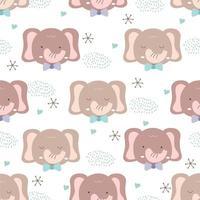 stile animale bambino disegnato a mano. carta da parati pastello di doodle del fumetto sveglio dell'elefante vettore