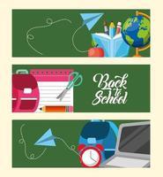 torna a scuola banner impostato con materiale scolastico vettore
