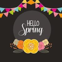 ciao poster di primavera con fiori e ghirlande vettore